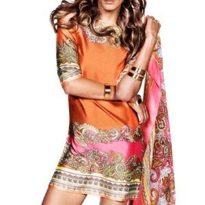 Satin paisley shift dress 🍊💗🍋